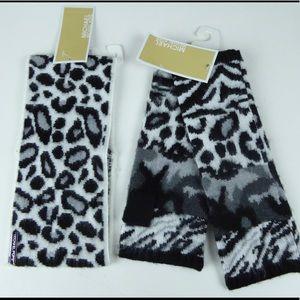 Michael Kors Leopard Headband Fingerless Glove Set